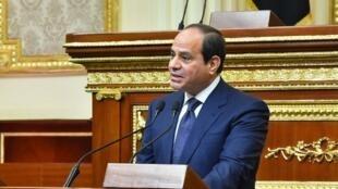 Abdelfatah al-Sisi pronuncia ante el Parlamento el discurso inaugural de su segundo mandato en El Cairo, Egipto, el 2 de junio de 2018.