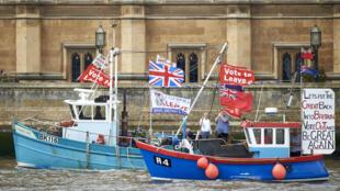 Des bateaux décorés de banderoles pro-Bexit accompagnent la flottille de Nigel Farage sur la Tamise, à Londres, le 15 juin 2016.