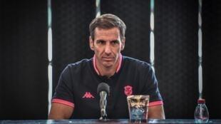 L'entraîneur du Stade Français, Gonzalo Quesada, en conférence de presse au stade Jean-Bouin, à Paris, le 30 juin 2020