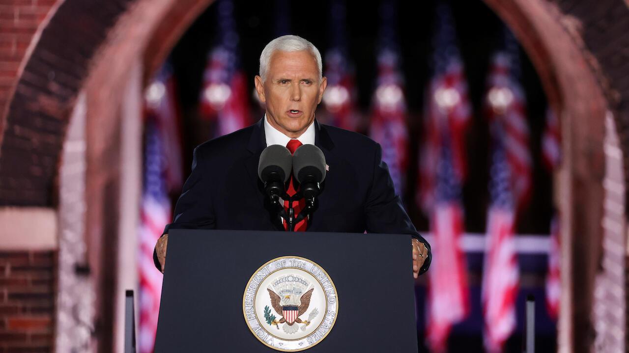 Mike Pence donne un discours à Fort McHenry, à Baltimore, le 26 août 2020.