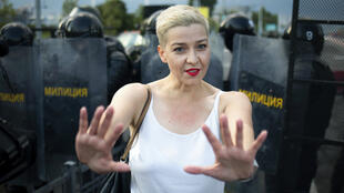 Maria Kolesnikova, one of Belarus' opposition leaders, gestures during a rally in Minsk, Belarus, on August 30, 2020.