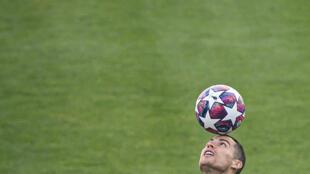 La star de la Juventus Christiano Ronaldo à l'entraînement à Turin, le 25 février 2020