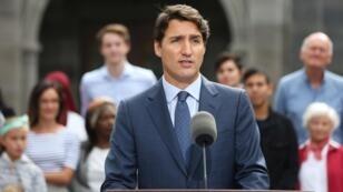 Justin Trudeau lors d'un discours à Ottawa le 11 septembre 2019.