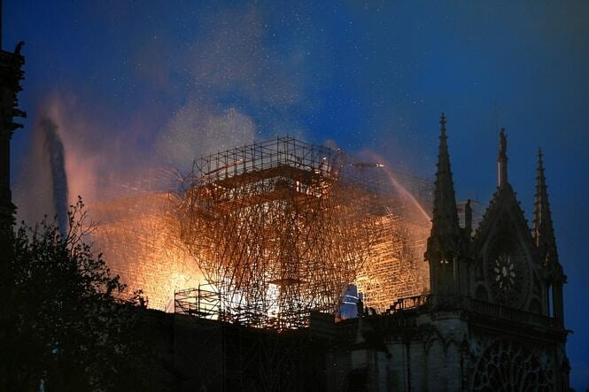 The 12th-century cathedral had been undergoing long-awaited renovations when the blaze broke out. AFP