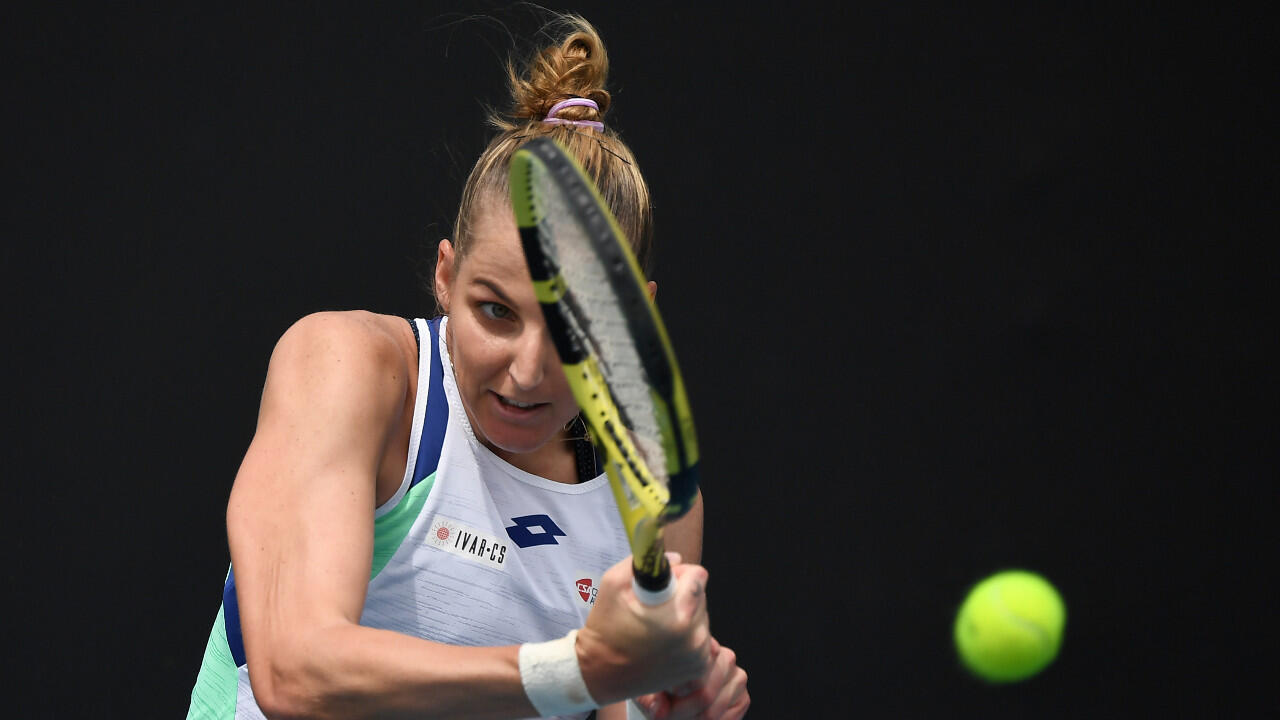 La Tchèque Kristyna Pliskova, ici photographiée lors du tournoi de tennis Open d'Australie, à Melbourne, le 22 janvier 2020, est en lice à Palerme.