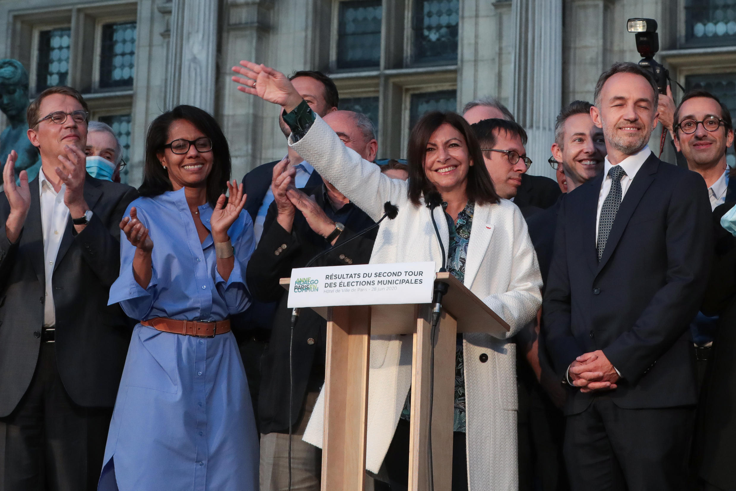 A victorious Anne Hidalgo after being elected to another term as Paris mayor