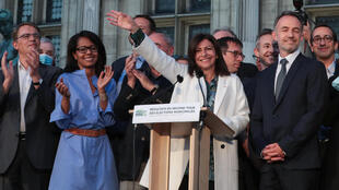 A victorious Anne Hidalgo after being elected to another term as Paris mayor on June 28, 2020.