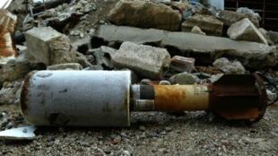 Une roquette trouvée à Douma, dans la Ghouta orientale, le 22 janvier 2018.
