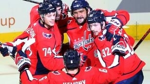 Alex Ovechkin celebrates with his Washington teammates as the Capitals are on a roll and avoiding the Stanley Cup hangover.