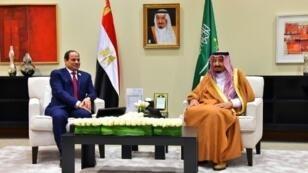 صورة نشرتها الرئاسة المصرية للرئيس عبد الفتاح السيسي خلال لقائه العاهل السعودي الملك سلمان بن عبد العزيز في السويمة في 29 آذار/مارس 2017