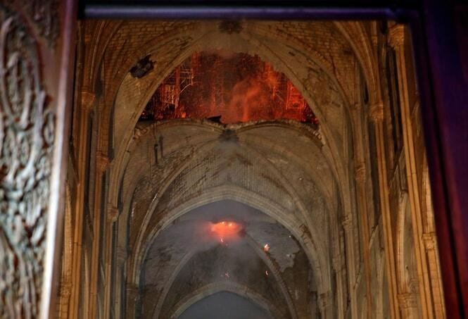 With the fire under control, teams were able to enter the cathedral and see the extent of the damage caused. AFP