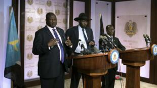 Riek Machar et Salva Kiir, le 8 juillet 2016, à Juba.