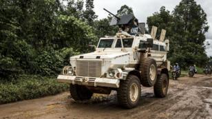 Un véhicule de la Monusco patrouille dans les environs de Beni, dans le Nord-Kivu, en août 2018.