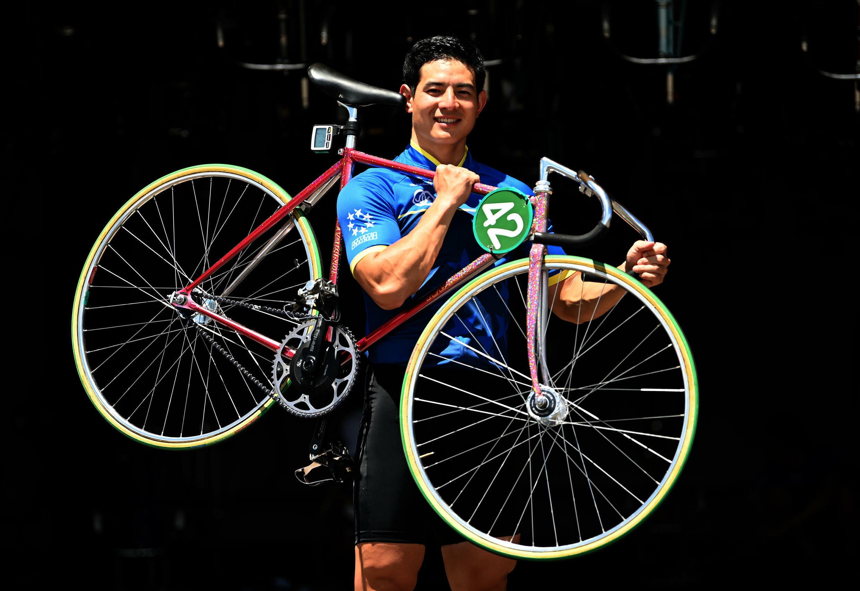 Japanese keirin student Yukoh Saito poses with his bike