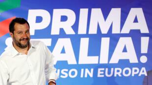 El vicepresidente y líder de la Liga, Matteo Salvini, llega a una conferencia de prensa en la sede de su partido en Milán, Italia, el 27 de mayo de 2019.
