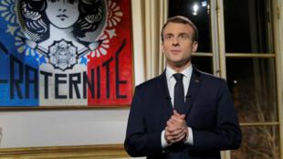 """La dernière allocution en date d'Emmanuel Macron était ses """"vœux aux Français"""" le 31 décembre dernier."""