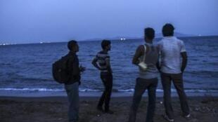مهاجرون على شاطئ بودروم ينظرون إلى جزيرة كوس اليونانية في 20 آب/أغسطس 2015