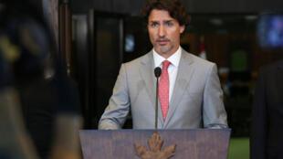 Le Premier ministre canadien Justin Trudeau lors d'une conférence de presse à Ottawa, au Canada, le 18 août 2020