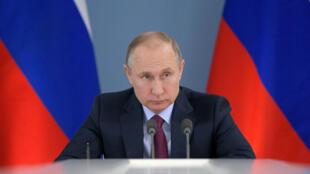El presidente ruso, Vladímir Putin, se reúne con el consejo supervisor de la Agencia de Iniciativas Estratégicas en Samara, el 7 de marzo de 2018.