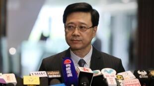 El secretario de Seguridad, John Lee Ka-Chiu, anuncia el retiro del proyecto de ley de extradición, en Hong Kong, China, el 23 de octubre.