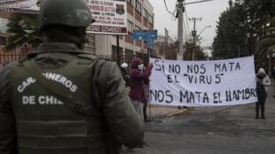 Protestas en la comunda de La Pintana, Santiago, el 20 de mayo de 2020.