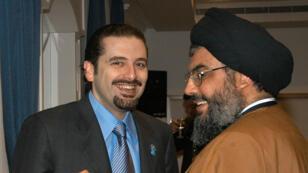 L'ancien Permier ministre Saad Hariri et le chef du Hezbollah Hassan Nasrallah, photographiés en mars 2006.