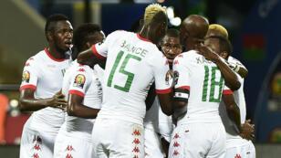 La joie des joueurs du Burkina Faso après leur premier but.