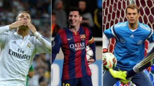Cristiano Ronaldo,  Lionel Messi et Manuel Neuer, finalistes du Ballon d'Or 2014.