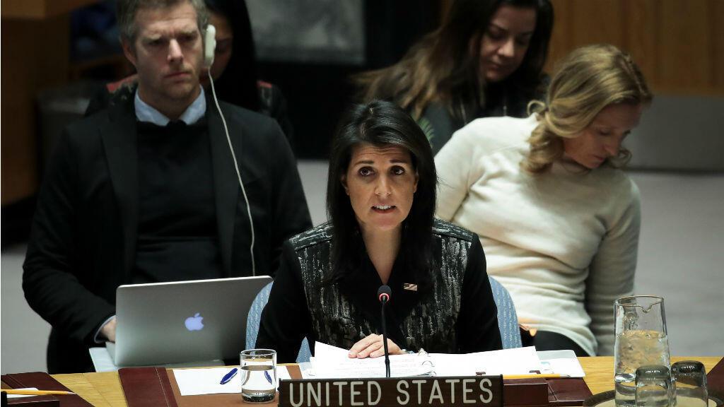 Nikki Haley, la embajadora estadounidense ante la Organización de Naciones Unidas, durante el Consejo de Seguridad de la ONU que se cumplió el 5 de enero.