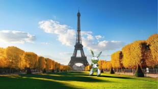 Le Rabbit de Jeff Koons s'affiche sur le Champ de Mars à Paris grâce grâce à un filtre de réalité augmentée sur Snapchat.