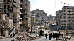 Les rues dévastées de la ville d'Alep, en janvier 2017.