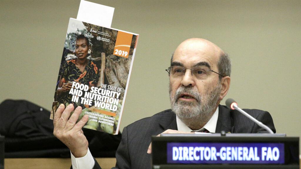 Jose Graziano da Silva, director general de la FAO, presentó el informe el 15 de julio de 2019 en la sede de la ONU en Nueva York, EE. UU.
