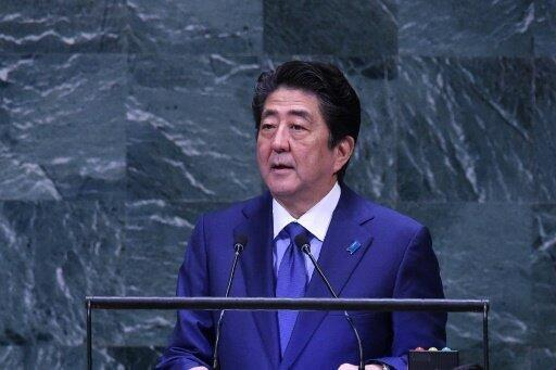 رئيس الوزراء الياباني شينزو آبي يلقي خطابا أمام الجمعية العامة للأمم المتحدة 25 أيلول/سبتمبر 2018