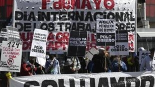 Argentine workers march in a May Day demonstration in Buenos Aires
