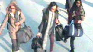 British teenagers (L-R) Amira Abase, Kadiza Sultana and Shamima Begum were caught on camera at Gatwick Airport as they prepared to fly on their own to Turkey