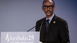 Le président rwandais Paul Kagame a prononcé un discours à l'occasion des commémorations du génocide de 1994, au Mémorial du génocide de Kigali, le 7avril2019.
