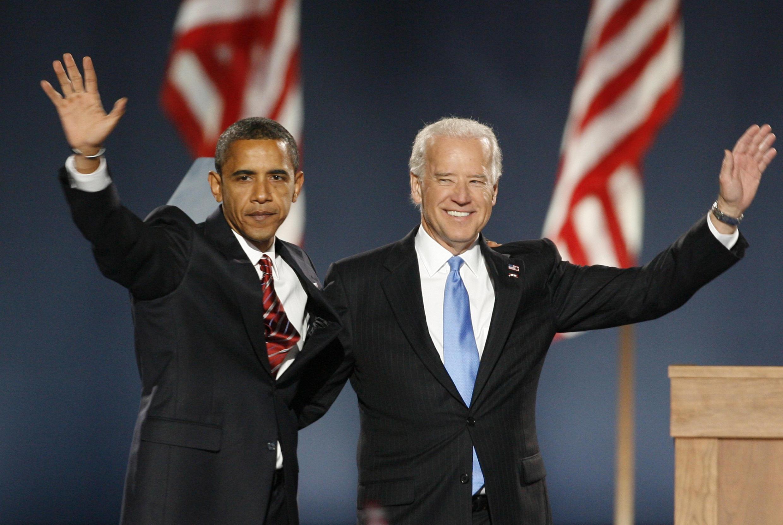 Joe Biden and Barack Obama in Chicago in 2008 when the latter won.