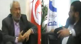 Screen-grab of the video of Ennahda leader Rached Ghannouchi's conversation with Salafist youth leaders