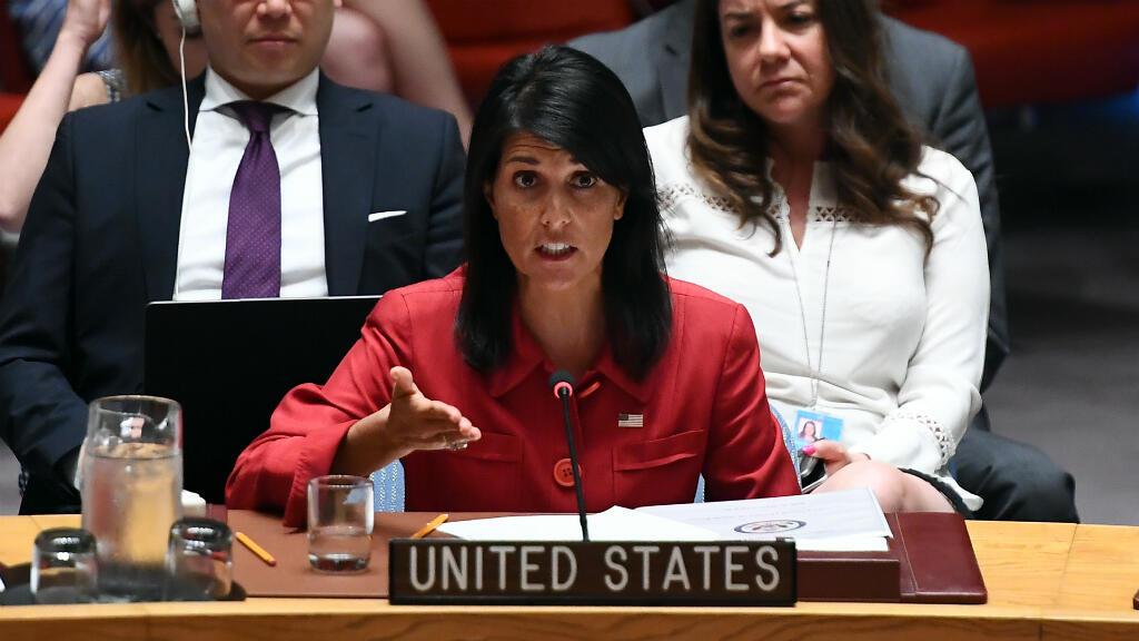 L'ambassadrice des États-Unis aux Nations unies, Nikki Haley, s'exprime devant le Conseil de sécurité le 5 juillet 2017.