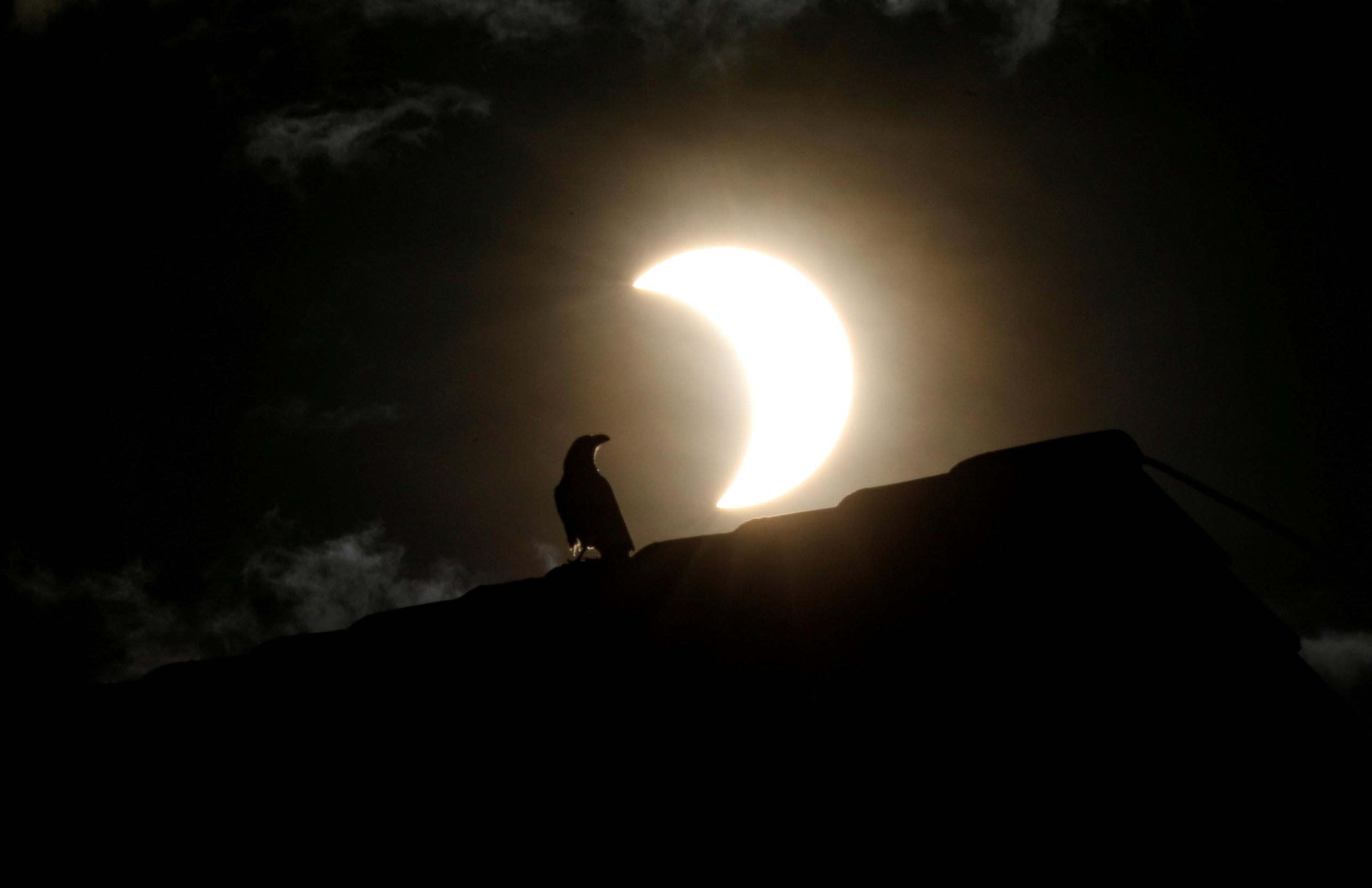 A crow stands on a roof as the partial solar eclipse is visible in Nairobi, Kenya, June 21, 2020.