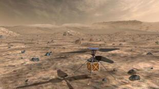 """رسم تصويري أعدته الناسا ونشرته في 30 نيسان/أبريل 2020 يظهر مركبة """"مارز هيليكبتور"""" الصغيرة المستقلة المجهزة بمروحية التي ستسافر على متن مسبار """"مارز برسيفيرنس"""" إلى المريخ"""