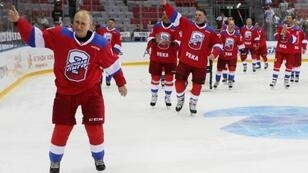 Russian President Vladimir Putin says he could not even stand on ice several years ago and learned to skate by clutching a chair