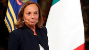 La nueva ministra de Interior italiana, Luciana Lamorgese, durante su juramentación en el palacio del Quirinale