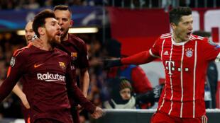 Lionel Messi y Robert Lewandowski celebran con sus equipos en Liga de Campeones. 20/2/2018