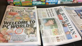 Un puesto de periódicos muestra el periódico Herald Sun, con una caricatura controvertida de Serena Williams, en Melbourne el 12 de septiembre de 2018.