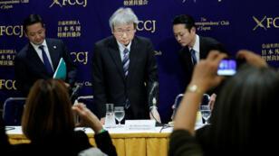 محامي الدفاع الرئيسي عن كارلوس غصن موتوناري أوتسورو في مؤتمر صحفي بطوكيو في 9 يناير/كانون الثاني 2019