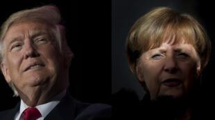 Photos d'archive du président élu américain Donald Trump et de la chancelière allemande Angela Merkel.