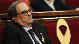 Quim Torra a essuyé un contretemps samedi 12 mai en n'étant pas élu président de Catalogne dès le premier tour.