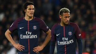 Edinson Cavani et Neymar Jr. sous le maillot du PSG, dimanche 17 septembre 2017 face à Lyon.