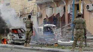 Les lieux de l'attentat à Mogadiscio, le 30 juillet 2017.